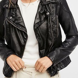 Free people leather jacket size 6 (small)